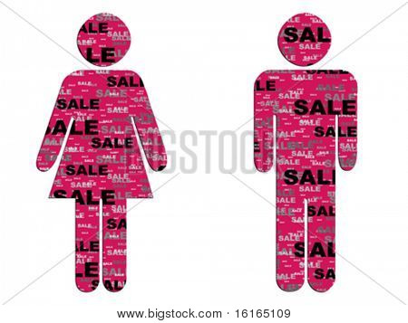 woman and man icon with sale pattern on it