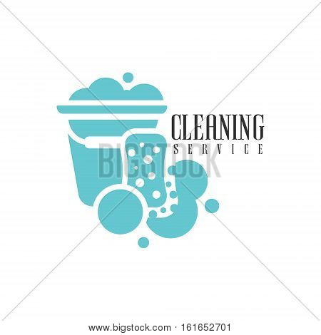 House And Office Cleaning Service Hire Logo Template With Bucket And Sponge For Professional Cleaners Help For The Housekeeping.Vector Label In Blue And White Color With Cleanup Elements.