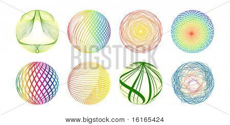 (raster image of vector) Colorful balls made of lines