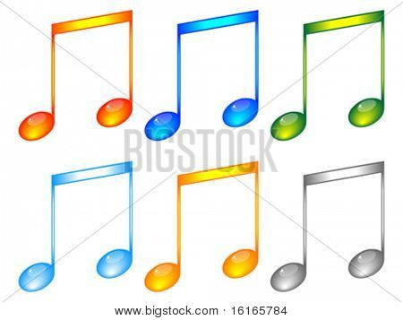 Shiny musical notes editable vector
