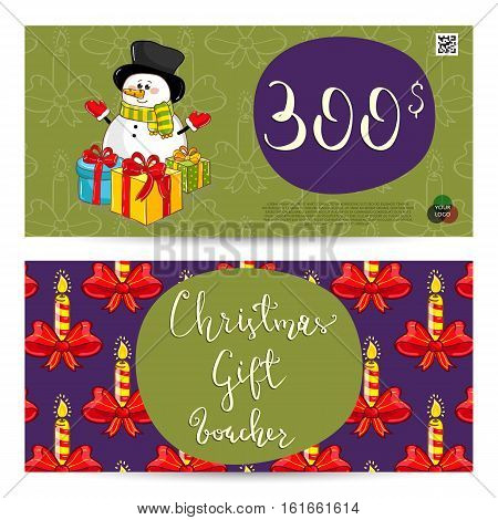 Christmas gift voucher template. Gift coupon with Xmas attributes and prepaid sum. Cute snowman, wrapped gifts, christmas tree toys cartoon vectors. Merry Christmas and Happy New Year greeting card