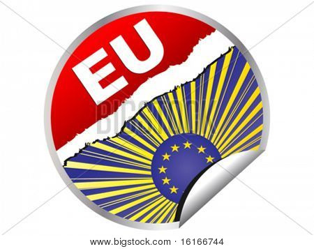 european flag on sticker vector illustration