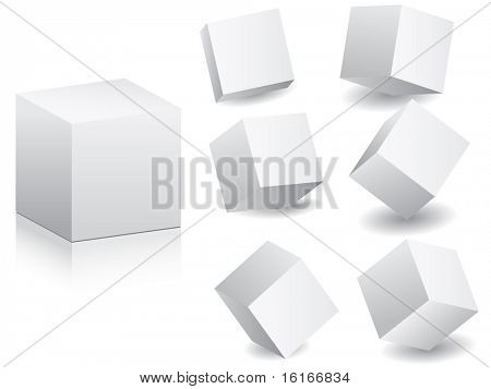 (Raster-Bild des Vektors) weiß Boxen in andere Position Vektor-illustration
