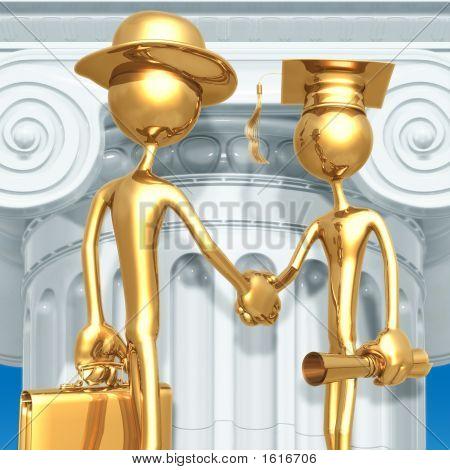 Golden Grad Employment Graduation Concept