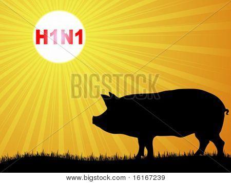 Swine flu virus vector illustration