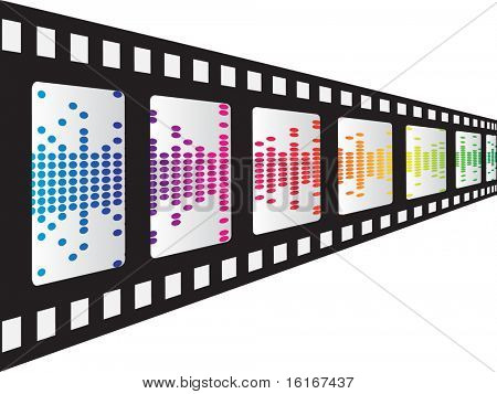 (raster image of vector) filmstrip with pixels inside