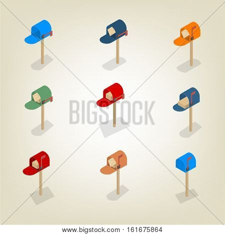 American colored mailbox isolated on white background. Flat 3D isometric style vector illustration.