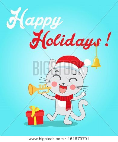 Cat Cartoon Character For Christmas Vector Cards And Banners. Funny Kitty With Trumpet And Christmas Hat In Flat Style. Happy Holidays Postcard Design. Funny Cat.