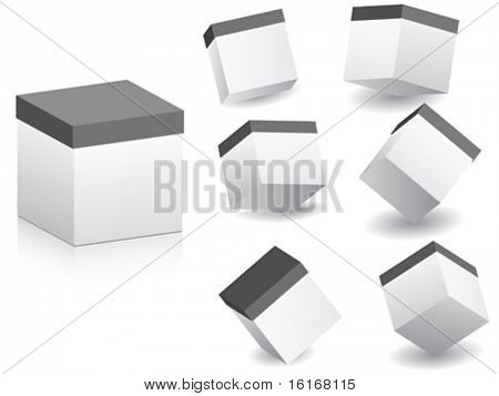 white boxes in different position vector illustration