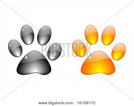 (raster image of vector) Dog footprint