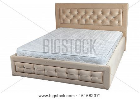 Lift up double bed with storage space and orthopedic mattress big size isolated on white background include clipping path.