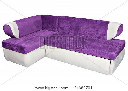 L shape fabric sofa purple and white colored for dining room corner furniture with storage space isolated on white background include clipping path.