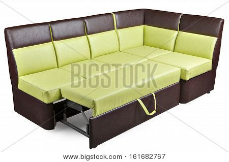 Leatherette L shaped dining furniture corner bench decomposed sleeper sofa brown and yellow colored isolated on white background include clipping path.