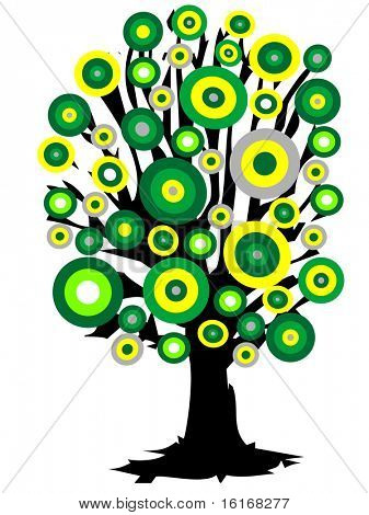 (raster image of vector) Color tree