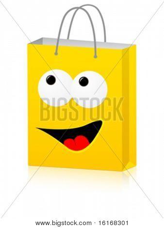 happy shopping bag for advertising vector illustration