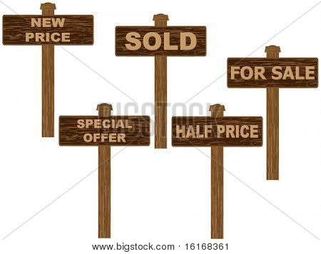 (raster image of vector) sale tag wooden texture