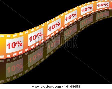 (raster image of vector) ten percent discount on filmstrip