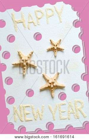 Illustration with photo of three sea stars for an original pink new year postcard.