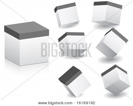 (raster image of vector) white boxes in different position