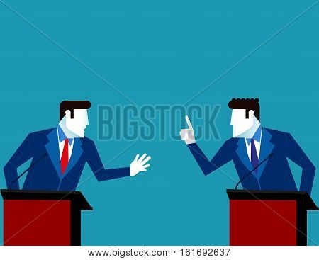 Business People Debate. Concept Business Vector Illustration. Vector Flat