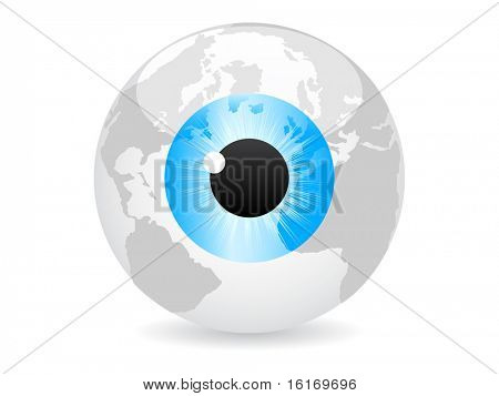 (raster image of vector) spy the world vector illustration