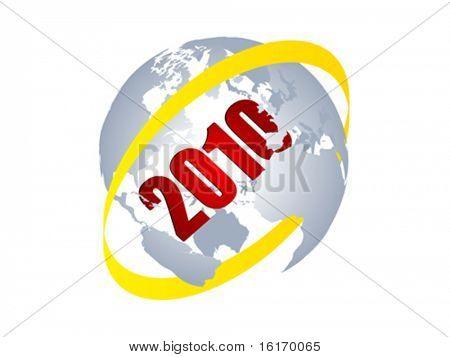 2010 year inside of world globe vector illustration