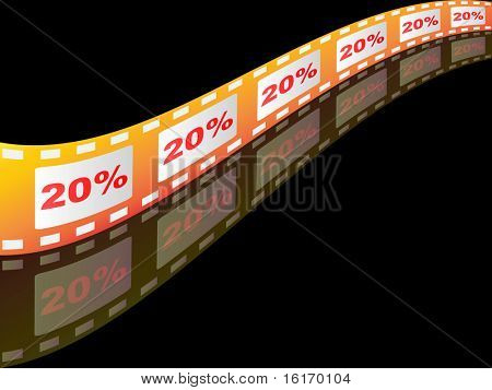(raster image of vector) twenty percent discount on filmstrip