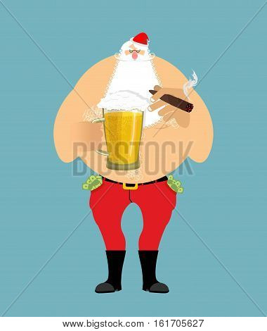 Bad Santa With Beer And Cigar. Santa Claus. Money In Pocket. Drink Away Earnings. Christmas Bully. N