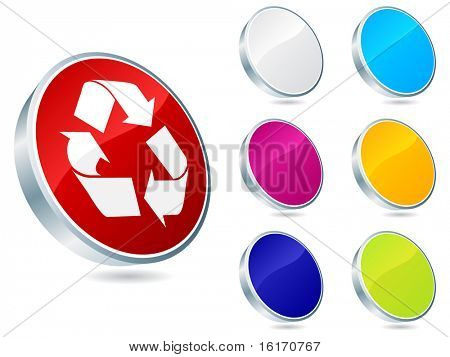 (raster image of vector) recycling icons different colors