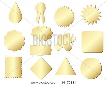 stickers different shape golden texture vector illustration