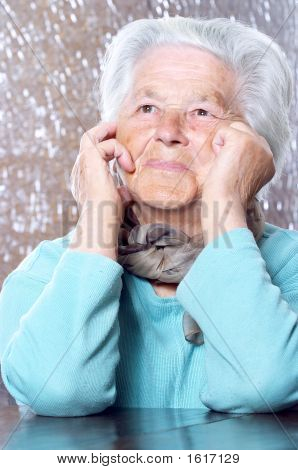 Elderly Woman Dreaming