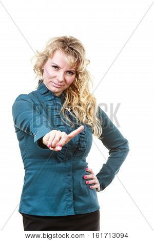 Prohibition concept. Mature blonde business woman making stop forbid hand finger gesture. Isolated on white background.