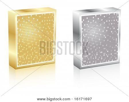 (raster image of vector) metallic boxes