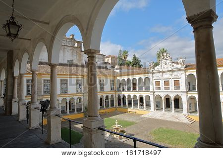 EVORA, PORTUGAL - OCTOBER 11, 2016: The University (Antiga Universidade) with Arcades and marble columns