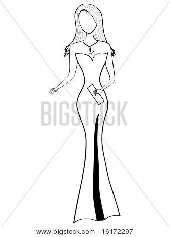 (raster image of vector) lady