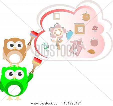 two cute owl painters, baby boy card