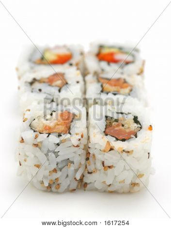 Spicy Tuna Sushi Roll On The White Background