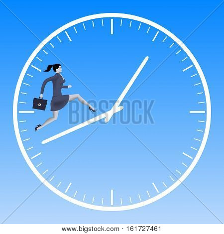Running up the clock handles business concept. Confident business woman in suit with case running up the clock handles. High speed business time to success conversion