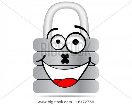 (raster image of vector) padlock cartoon