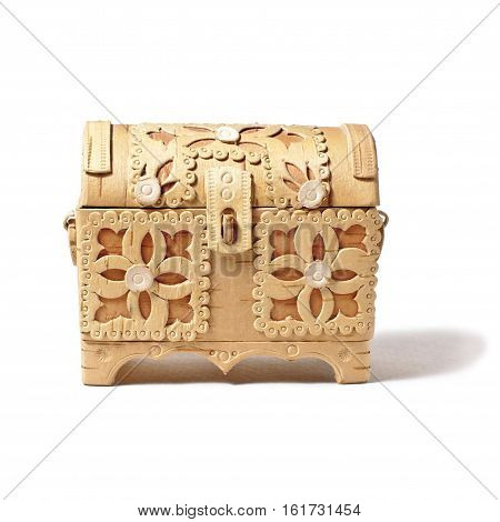 small handmade bark box isolated on white background