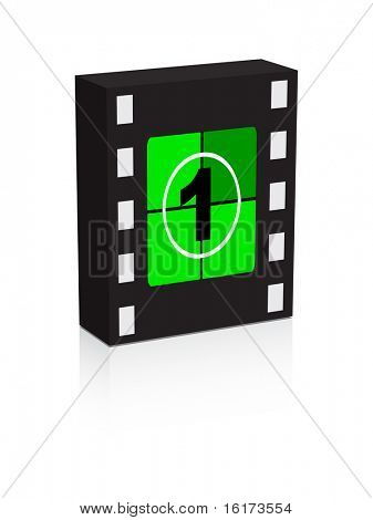 (raster image of vector) number one film strip on box