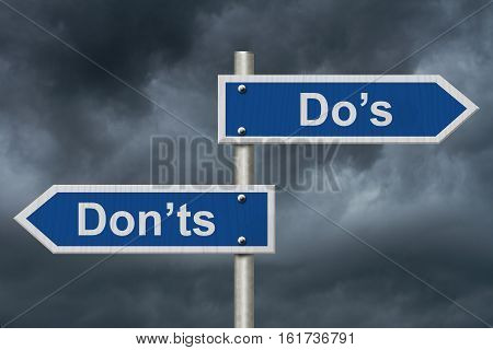Learning to use proper grammar Blue road sign with words Do's Don'ts with stormy sky background 3D Illustration