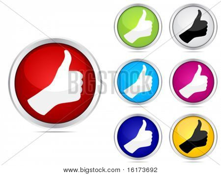 Human hand giving ok buttons different colors