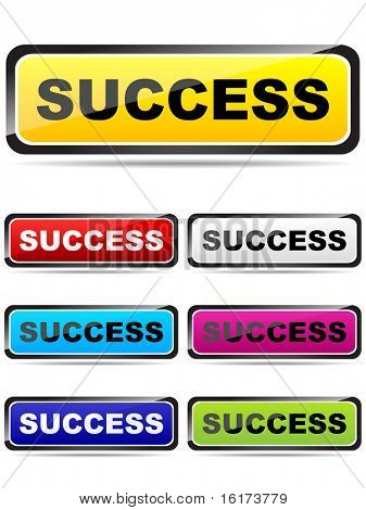 (image of vector) (image of vector) colorful buttons with success word