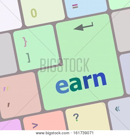 Earn Button On Computer Pc Keyboard Key