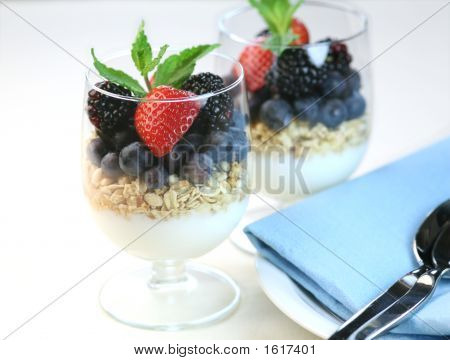 Yogurt With Granola And Fresh Fruits