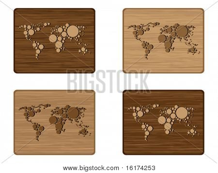 Wooden map banners vector illustration