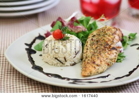Broiled Chicken Breast With Rise And Salad