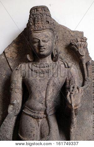 KOLKATA, INDIA - FEBRUARY 09:  Vajrapani, from 10th century found in Khondalite Lalitagiri, Odisha now exposed in the Indian Museum in Kolkata, West Bengal, India on February 09, 2016.