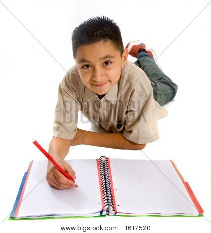 Schule Studenten seine Hausaufgaben